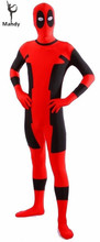 Mens Halloween Cosplay Red Spandex Full Body Deadpool Costume Adult for Party Shows Superhero Cosplay Carnival Zentai Suit Kids