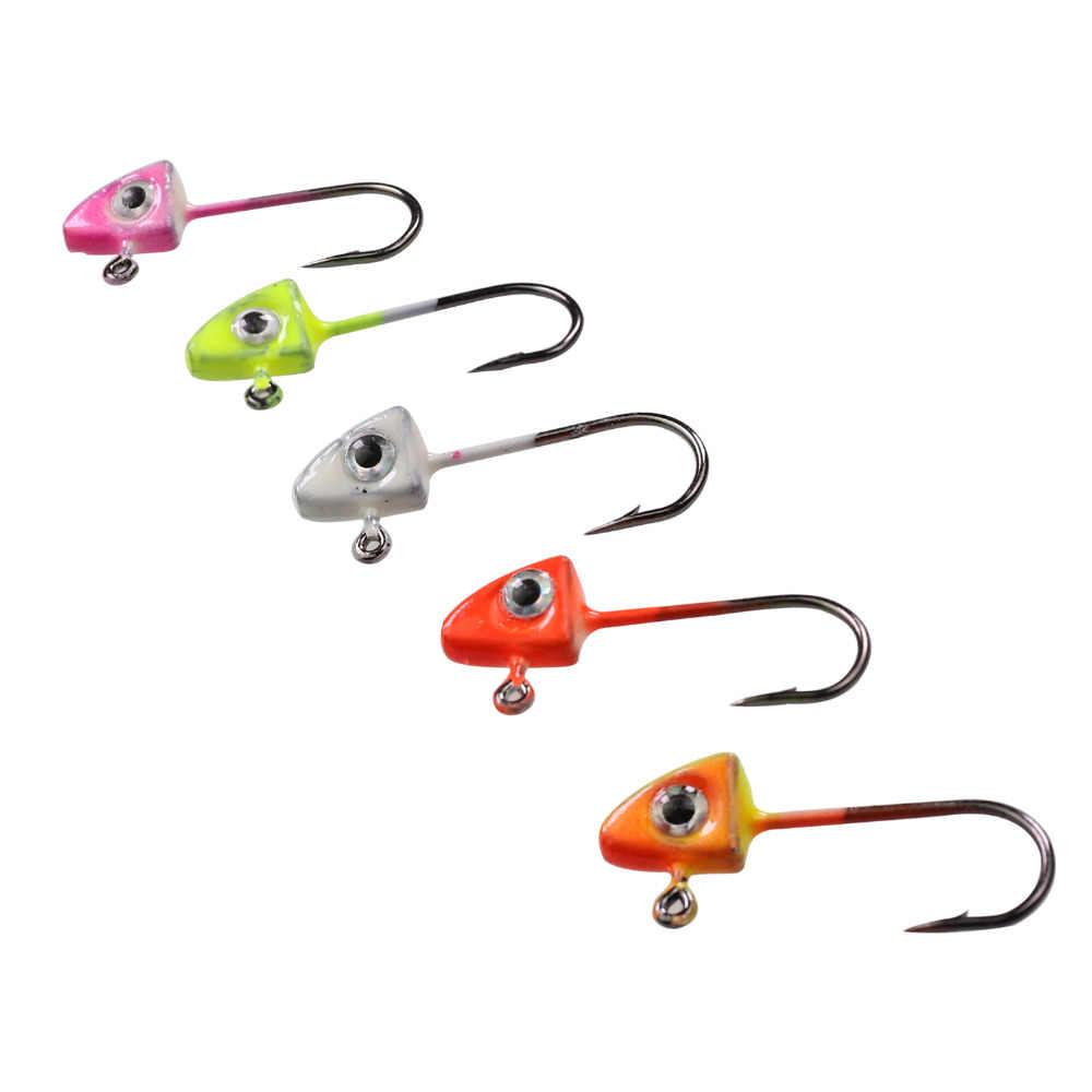 50pcs Jig Head Fishhooks Lead Head Hook Bait Jigging For Soft Fishing Lure
