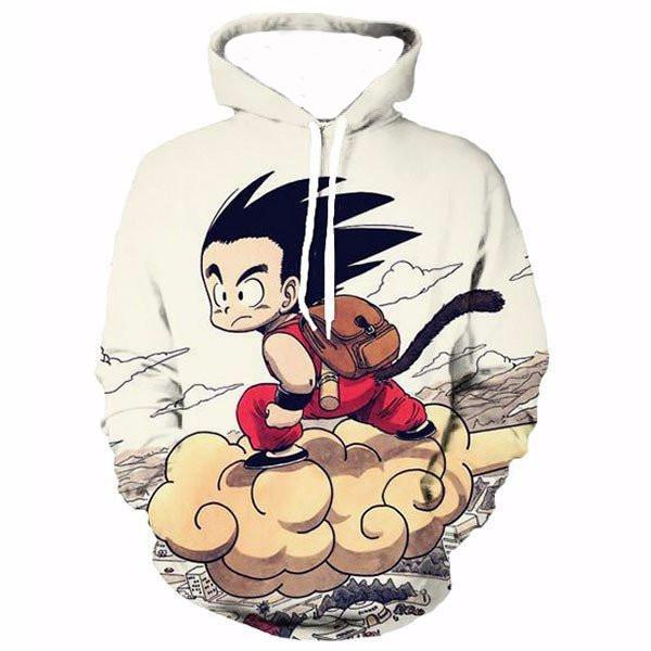 Cute Kid Goku On Nimbus 3D Sweatshirt Hoodie Pullovers