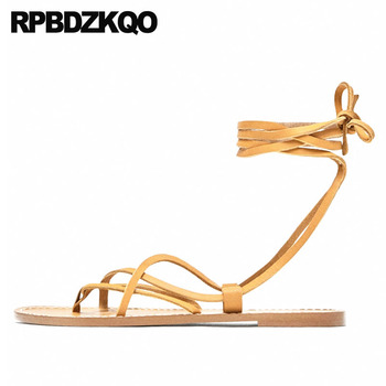 Strappy Open Toe Big Size Holiday Lace Up Ladies Strap Sandals Flip Flop 2018 Designer Shoes Gladiator Women Roman Flat Summer
