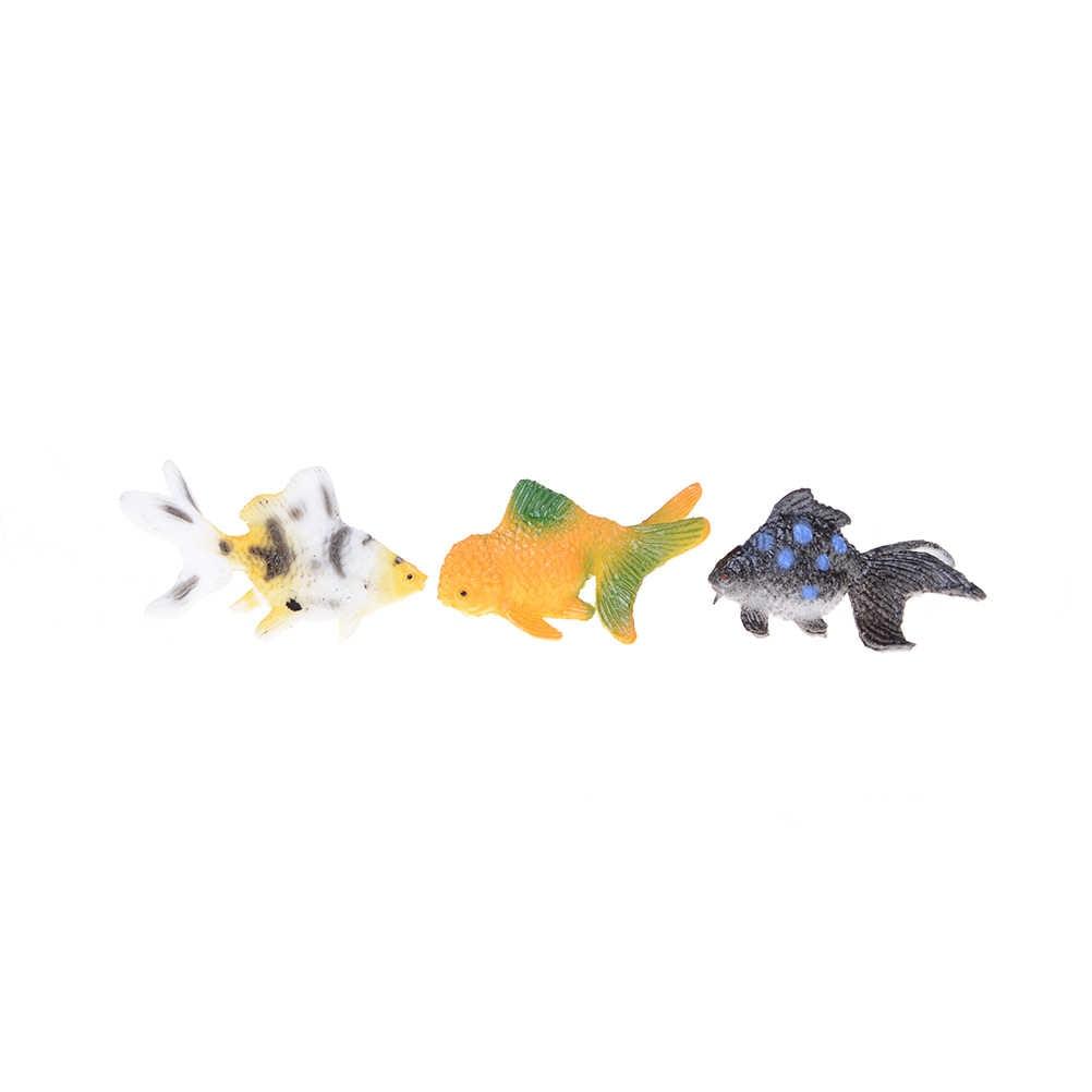 12pcs/lot Plastic Goldfish Simulated Ocean Animals Kids Party Gift Plastic  Gold Fish Figures Model 3-4cm Wholesale