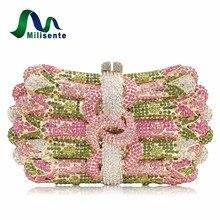 Neue Frauen Luxus Kristall Kupplung Handtasche Strass Abendtasche Hochzeit Geldbörse Party Gold Silber Rosa