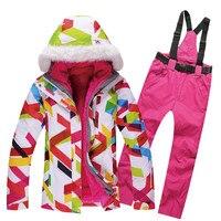 Winter Ski Set Waterproof Windproof Skiing Jacket And Pants Windproof Warm Ski Suit Thicken Warm Snowboard