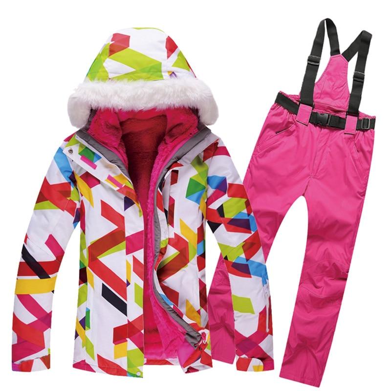 Prix pour Hiver Ensemble de Ski Coupe-Vent Imperméable Ski Veste et Pantalon Coupe-Vent Chaud Ski Costume Épaississent Chaud Snowboard Veste Marque