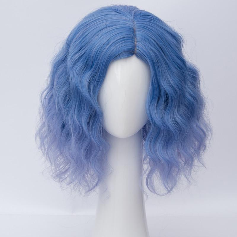 35 Cm Kurzen Gemischten Blaue Lockige Promi Lolita Partei Cosplay Perücke + Perücke Kappe Hitzebeständige