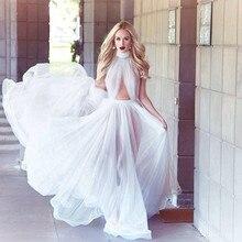 Sexy Weiß High Neck Brautkleider 2015 Eine Linie Rüschen Lange Chiffon-Weg Von der Schulter Abendgesellschaft Kleider Formale Kleider