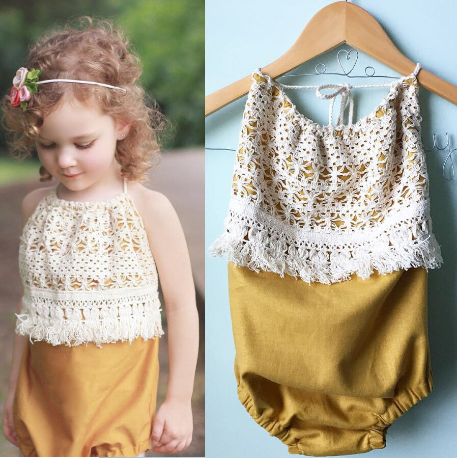 Lovely Toddler Kids Infant Baby Girls Romper Sleeveless Tassels Jumpsuit Summer Kids Fashion Clothes Outfits