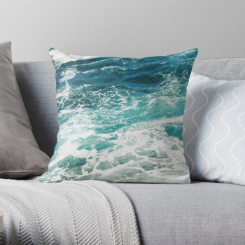 Blue Ocean Waves Pillow Cover