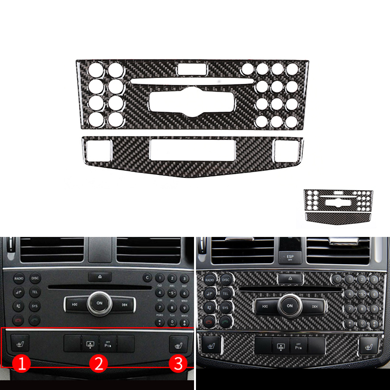 Car Real Carbon Fiber Center Navigation Panel Frame Trim For Mercedes Benz C Class W204 C180 <font><b>C200</b></font> C260 2007 2008 2009 <font><b>2010</b></font> image