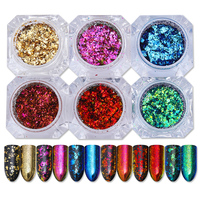 6 Boxes BORN PRETTY Chameleon Glitter Sequins Colorful Irregular Paillette Nail Flakies Powder