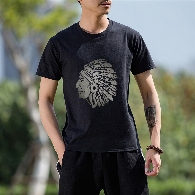 Fashion Cotton T-Shirt Short Sleeve Casual T Shirt Stylish Apache Indian Fitness Bodybuilding Print Tops Tees Funny Tshirt Men