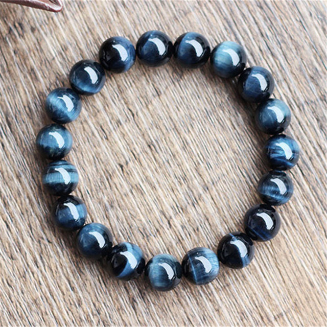 Wholesale 10mm Natural Blue Eagle Hawk's Eyes Gem Stone Round Beads Jewelry Stretch Power Women Men Bracelet