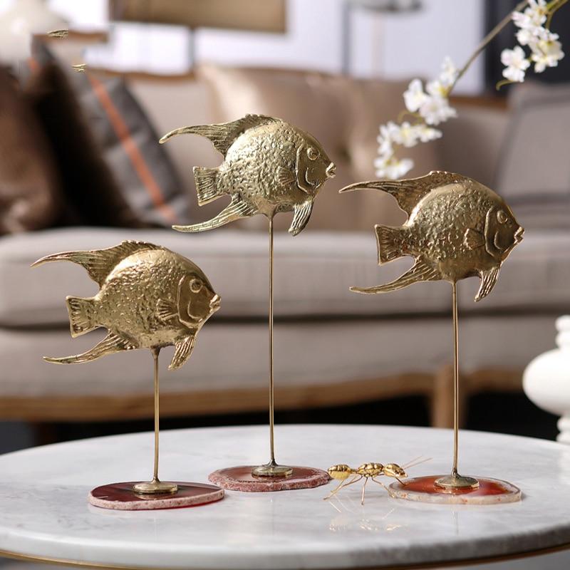 Brass Fish Office Livingroom Desk Ornament Decor Art Sculpture Red Crystal Base Handicrafts Home Decoration Accessories Statues