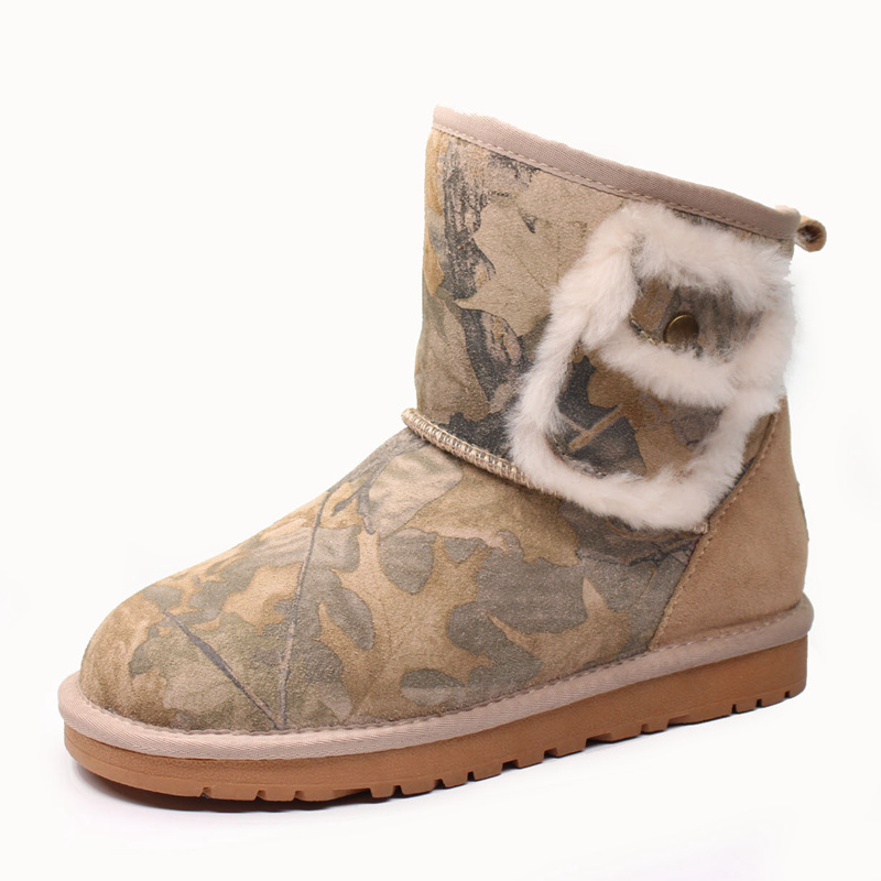 Top Quality New Fashion 100% Genuine Cowhide Leather Snow Boots Real Fur Classic Mujer Botas Waterproof Winter Shoes for Women aiweiyi womens high quality genuine leather real fur 100