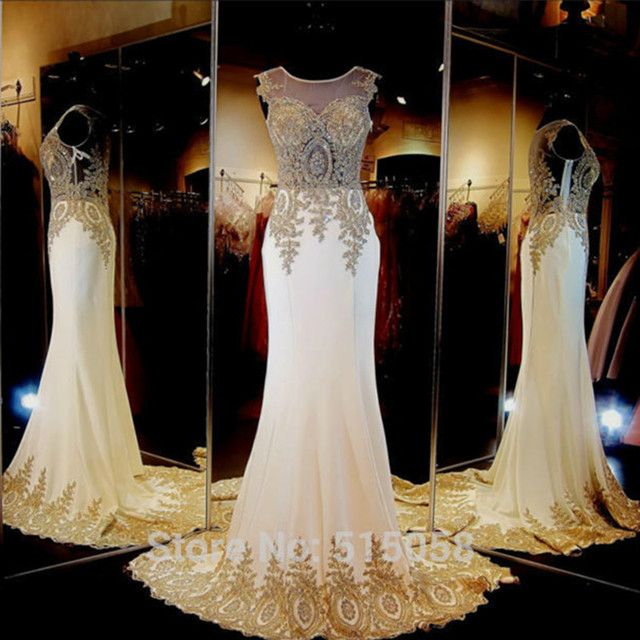 Real Sample Gold Embroidery Beaded Long Chiffon Ivory Wedding Dress
