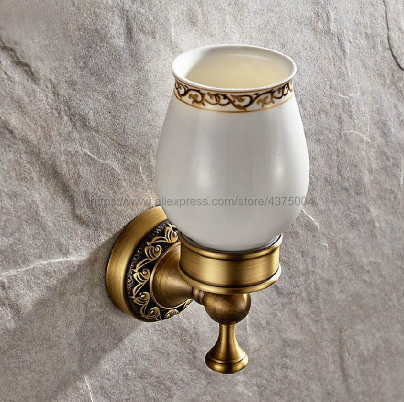 Wall Mounted Cup & Holders Antique Brass Glass Cups Toothbrush Holder Bath Hardware sets Single Cup Holder Nba497 image