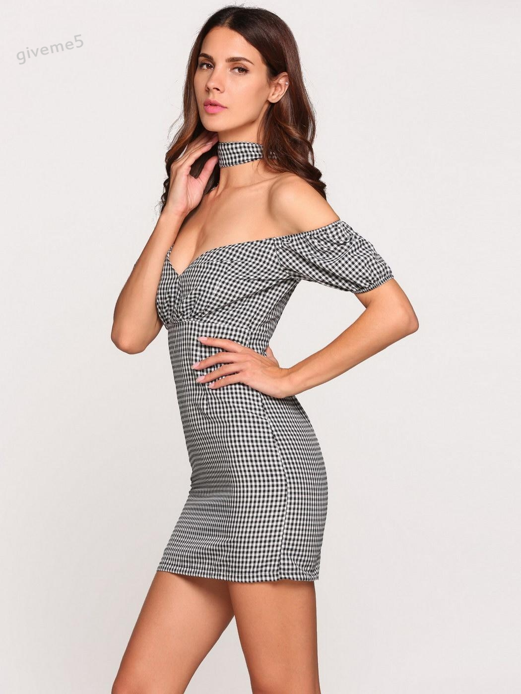 Sexy Women Summer Short Sleeve Party Club Evening Mini Pencil Dress Lady Off Shoulder Choker Plaids Cut-out Back Fitness Dress