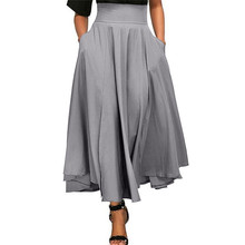 ZOGAA Women High Waist A-line Skirt Solid Long Skirt Pleated A Line Front Slit Belted Plus Size S-4XL Empire Ankle-Length Skirt(China)