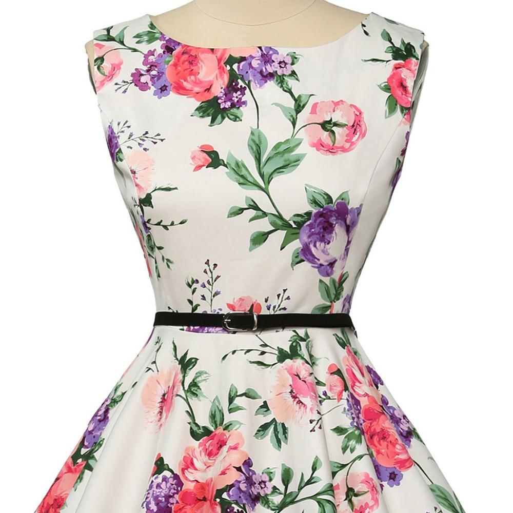 Wanita musim panas dress 2018 wanita floral retro vintage dresses 50 - Pakaian Wanita - Foto 6