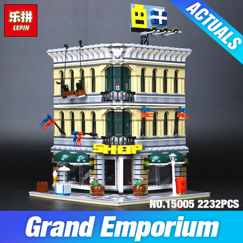 LEPIN 15005 2232pcs City Grand Emporium Model Building Blocks Kits Brick Toy Compatible Educational 10211 Children day's DIYGift донья перфекта
