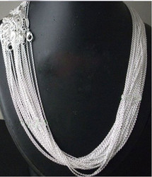 10pcs / lot Promotion! Wholesale 925 sterling silver necklace, silver fashion jewelry Silver Chain 1mm Necklace 16 18 20 22 24