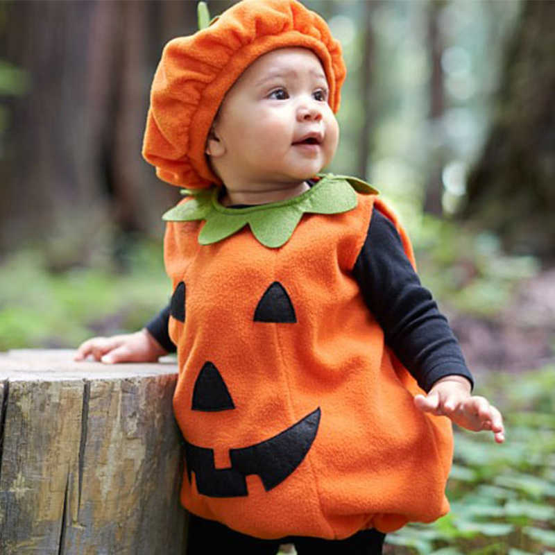 0-3Y Newly Cosplay Halloween Toddler Baby Kid Pumpkin Print Sleeveless Romper Jumpsuits Tops+Hats Baby Clothes Costumes