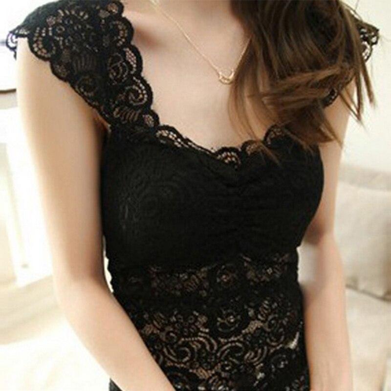 Women Ladies Sexy Lace Padded Bra Crop   Top   Black White Vest Sleep Leisure Intimates Bra Blouses   Tank     Tops   Crop   Top