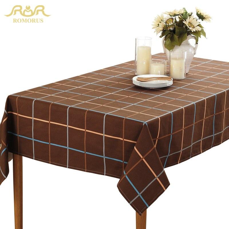 ROMORUS Coffee White Plaid Table Cloths Quality Canvas