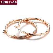 3,0 см Средний круг классические серьги обруча розовое золото цвет без камня для женщин вечерние высокое качество ZYE780