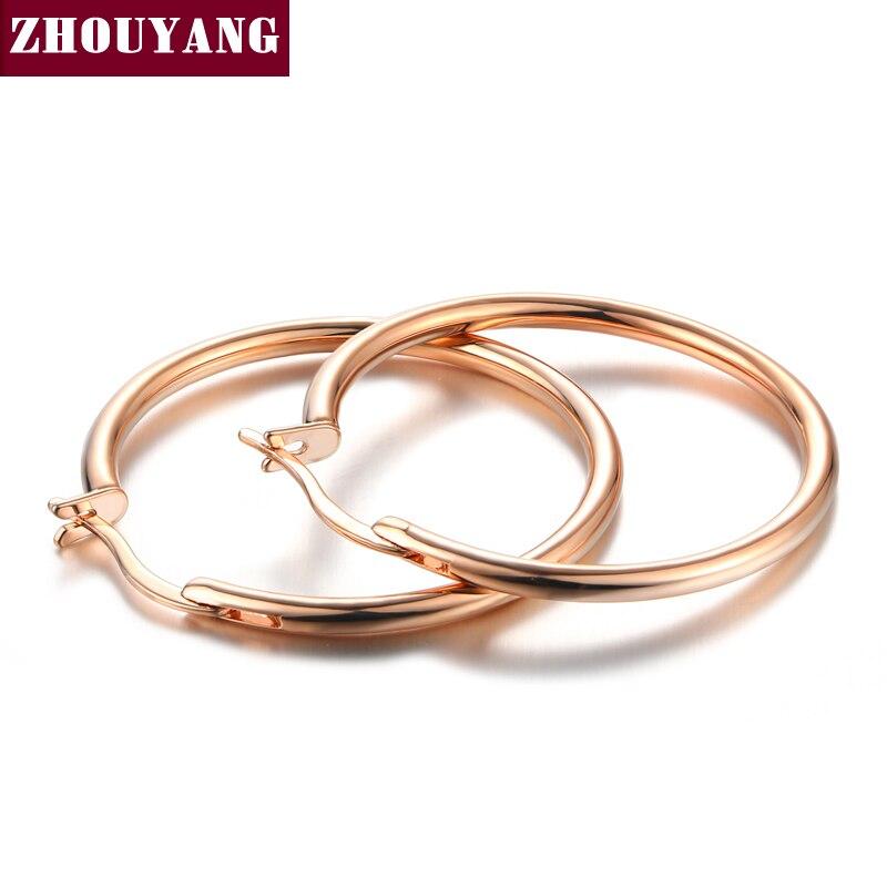 Классические серьги-кольца средней длины 3,0 см, цвета розового золота, без камня, для женщин, вечерние, для работы, высокое качество, ZYE780
