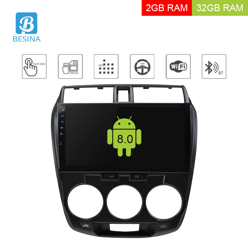 Besina 10.1 pollice Android 8.0 Car multimedia Player Per Honda City 2008-2012 2013 Autoradio di Navigazione GPS 2g + 32g Stereo WIFI RDS