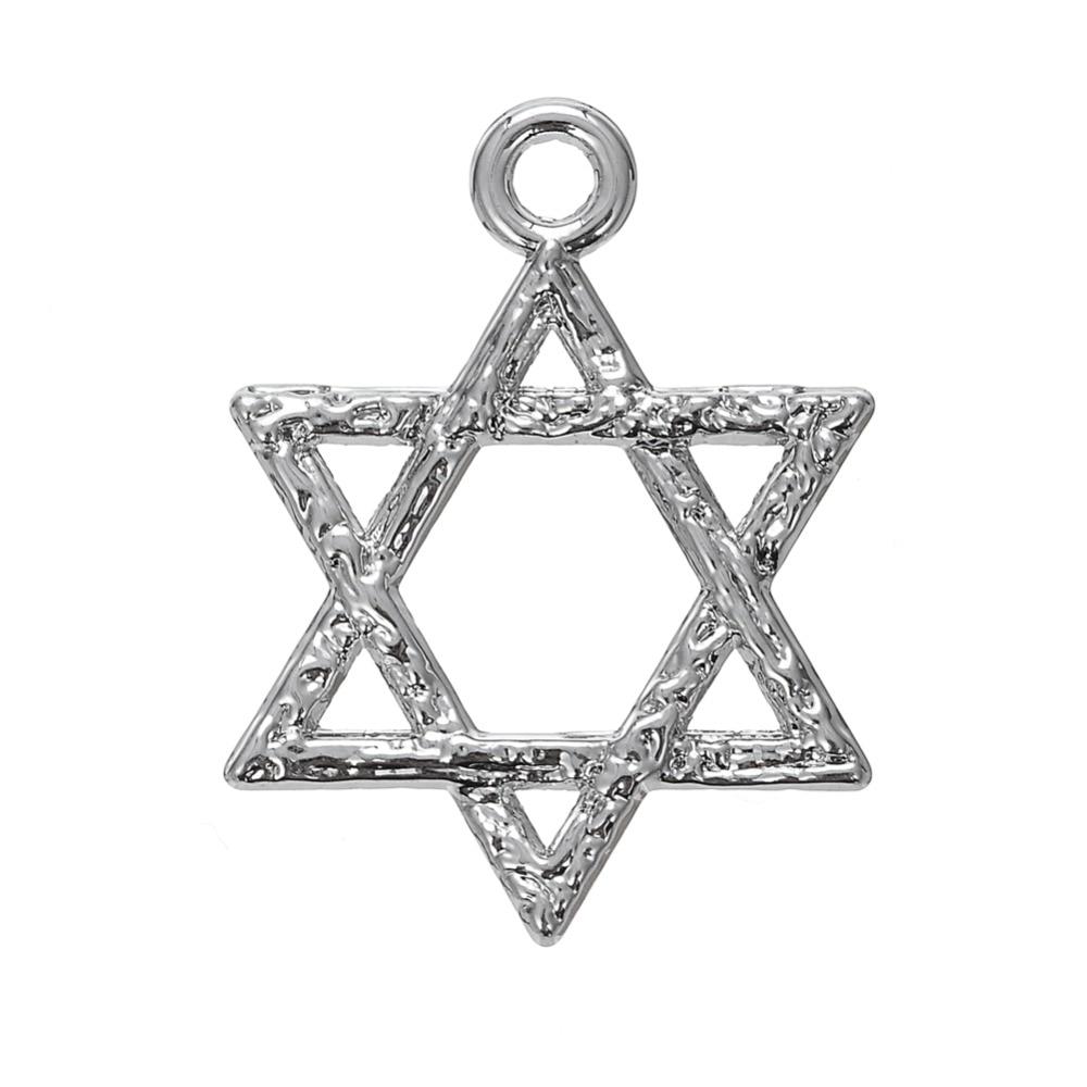 My Shape Star Of David Metal Charm Rhodium Tone Lead Free Nickel Free Religious Pattern Jewelry 40 pcs