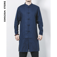 Sinicism Store New Mens Cotton Linen Long Shirts Long Sleeve Shirts Stand Collar Chinese Traditional Clothes Male Shirt Costume
