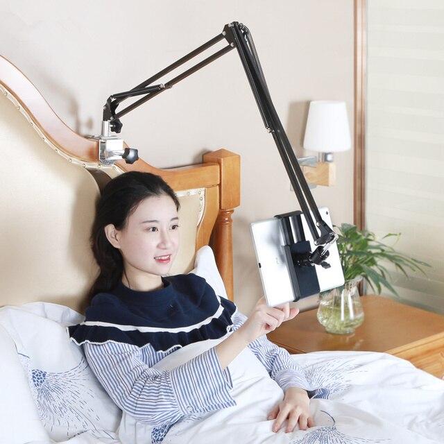 Giường có thể điều chỉnh Tablet Đứng 110 cm Cánh Tay Phổ Rotating Máy Tính Để Bàn Bảng Chủ Hands Miễn Phí Điện Thoại Di Động Khung Giá cho iPad 3.5 -10.6''