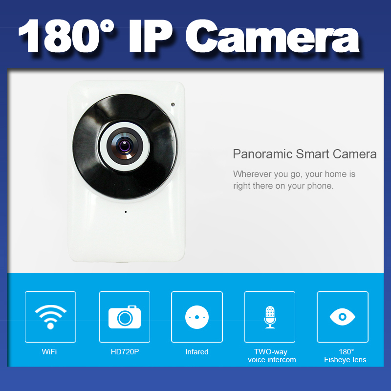 2017 Intelligente Webcam Della Macchina Fotografica Panorama View 180 gradi fisheye Mini Wifi IP camera 720 P CCTV Wireless Camera IR-CUT Night versione