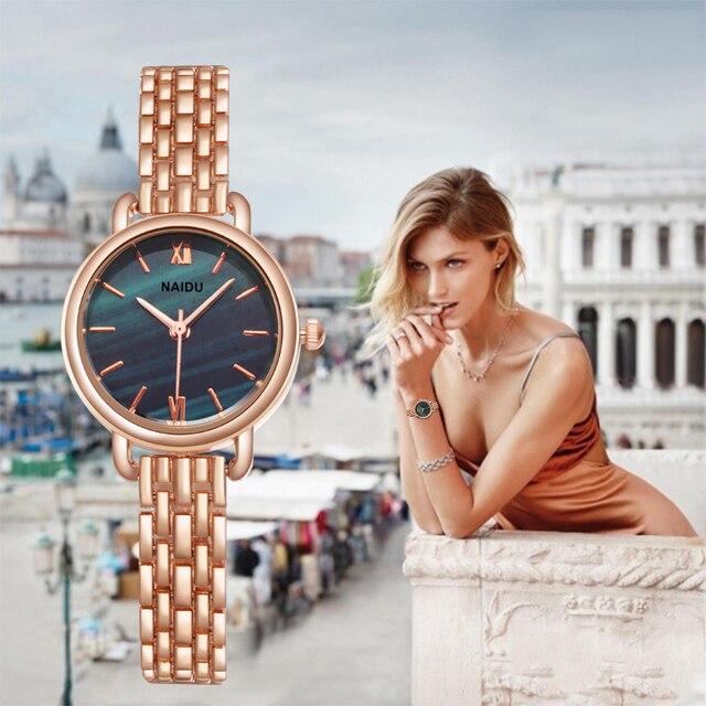 Женские часы Новые NAIDU розовое золото серебро женские часы-браслет женские s кварцевые наручные часы с покрытием feminino reloj mujer kol saati