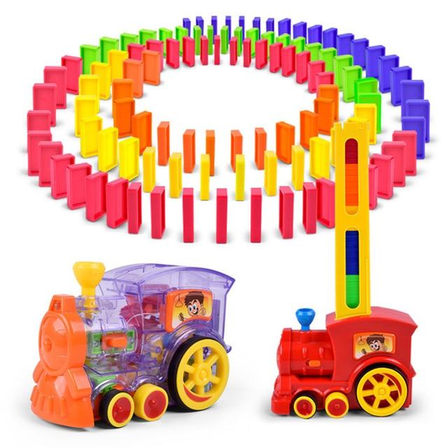 Automatyczne układanie Domino cegła lokomotywa zestaw dźwięk światło dzieci kolorowe plastikowe Domino bloki zabawki do gier prezent dla dziewczyny chłopców