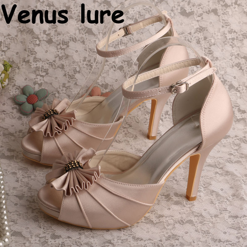 Nude Women High Heels Sandals Bridal Peep Toe Platform Party Evening Shoes with BowsNude Women High Heels Sandals Bridal Peep Toe Platform Party Evening Shoes with Bows