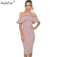 af705fa8ff Nadafair Ruffles Cloak Sleeves Halter Skinny Sexy Club Women Party Dress  2017 Summer Bodycon Midi Dress