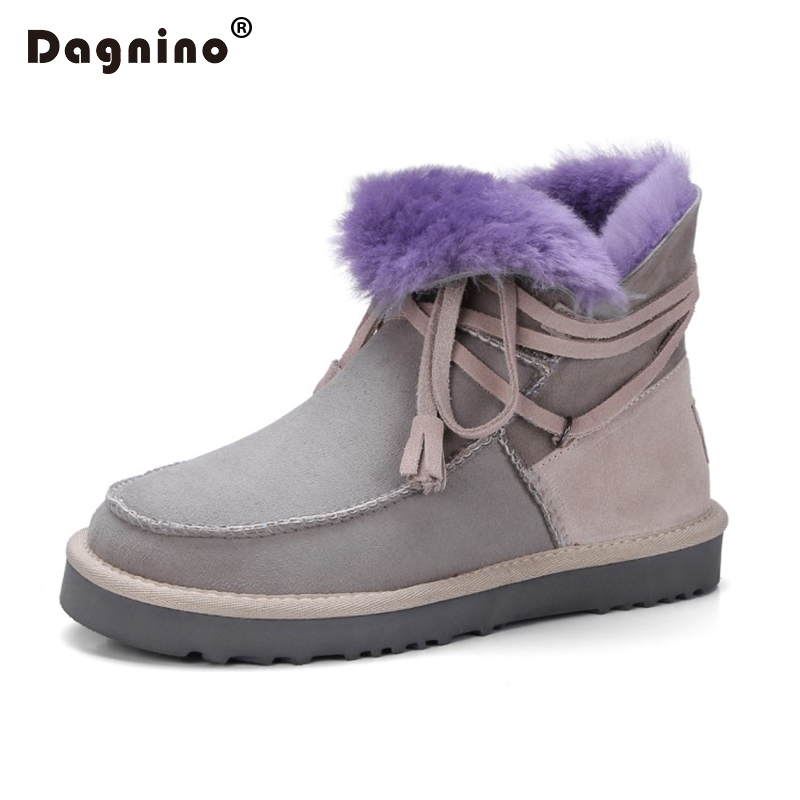 DAGNINO Fashion Winter Genuine Leather Flat Snow Boots Female For Women Wool Down Keep Warm Fur Short Casual Woman Ankle Shoes fashion woman s striped beanies hat 2016 new autumn winter knitted warm wool casual girl cap for woman skullies chapeu feminino