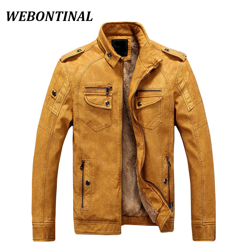 WEBONTINAL Brand PU Faux Casual Man Jackets Men <font><b>Leather</b></font> Jacket Male Coats Winter Warm Velvet Hombre Veste Motorcycle Outerwear