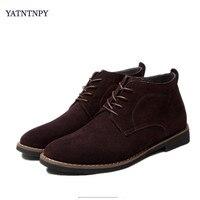 YARN TMP men's business casual dress dress shoes authentic cow suede classic tie men's office shoes men's warm boots
