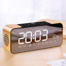 Portable Bluetooth Speaker with Led Alarm Clock High Definition Sound Column Mirror Screen Support TF Card AUX FM Radio Bass