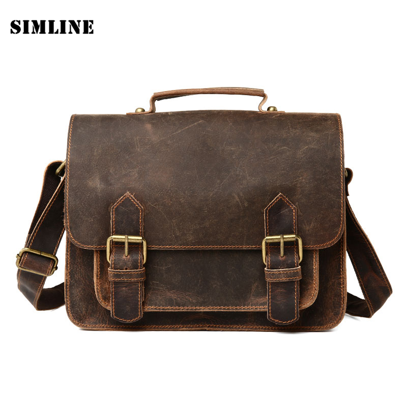 все цены на New High Quality Vintage 100% Real Genuine Crazy Horse Leather Cowhide Men Handbag Shoulder Messenger Bag Bags Briefcase For Men