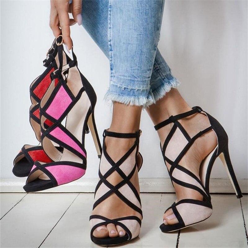 Mode contraste couleur cage Bandage à talons hauts sandales en daim découpes bout ouvert dame d'été chaussures femmes gladiateur sandales 2019