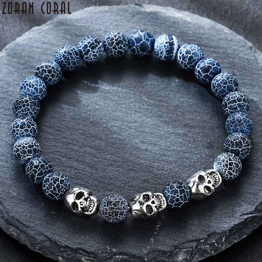 Nueva pulsera de hombre de moda piedra volcánica cuentas naturales esqueleto calavera hombres señoras punk pulsera personalidad pulseira masculina