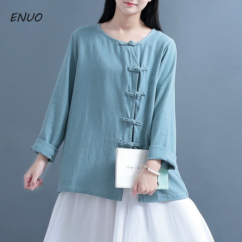 Round Collar Long Sleeves Solid Color Cotton Linen Plate