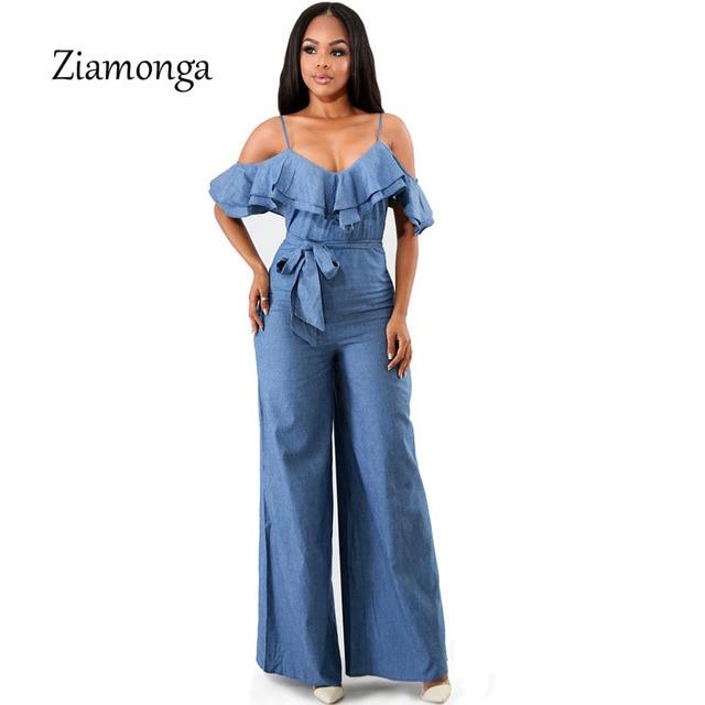 a2b4ec79649 Ziamonga Sexy Women Denim Jumpsuit Off Shoulder Rompers Wide Leg Pants Long  Trousers Overalls Ladies Bodysuit Female Playsuit