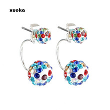 Fashion Double Ball Earrings For Women Round Earings Silver Color Crystal Stud Earring Pendientes Mujer Oorbellen 6 Colors