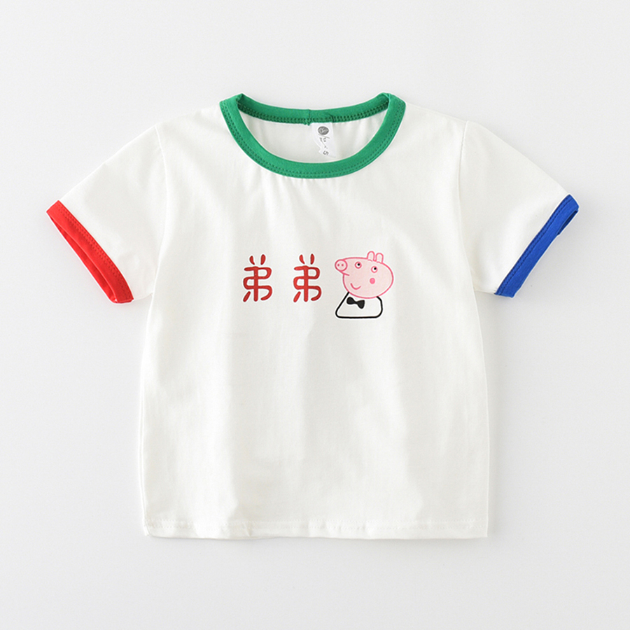 JN18901 Summer Top Kids Clothes Boys T-shirt Girls Chinese character T shirt Summer Baby sports Tees Kids TShirt 100% Cotton